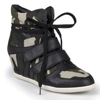 Journee Collection Alana Camo Wedge Sneakers - Women (Black)