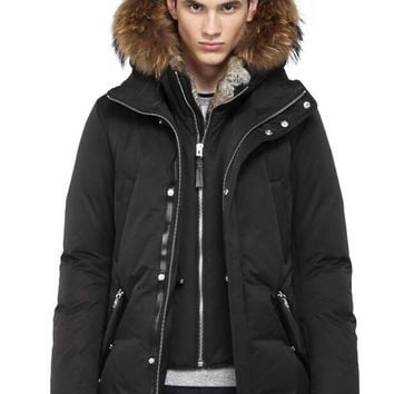 Mackage Men's edward-f4 winter down coat with fur hood and leather details down jacket
