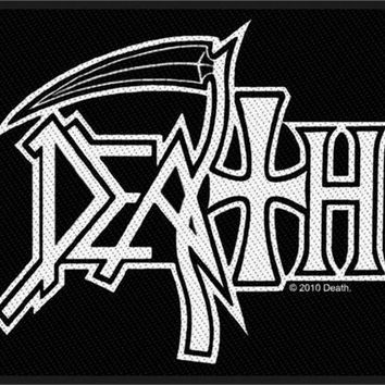 Death Sew On Patch Rectangle White Letters  Logo