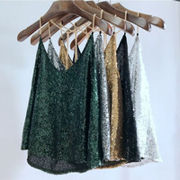 2017 Women Sequined Camis V-Neck Backless Tank Tops Summer Sexy Camis Tops