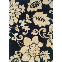 Black / Ivory Floral Design Indoor Area Rug (5' x 7'3)