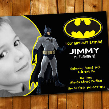 Batman Night Superhero, Birthday Invitation, Birthday Party for little boy and little girl