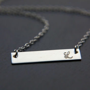 Hand Stamped Sterling Silver Bar Necklace, Initial Bar Necklace, Horizontal Bar Name Plate, Nameplate Necklace, Personalized Necklace Roman