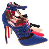 Retro Violet By Shoe Republic, Adjustable Strappy Buckle With Ankle Strap High Heel Pump