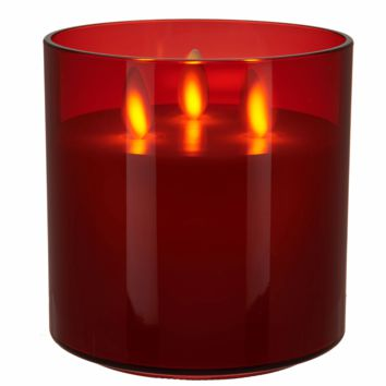 Luminara Tri-Wick Rechargeable Candle - Garnet Red