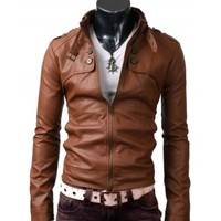 Two Pocket Stylish Zipper Jacket | Button Pocket Brown Leather Jacket