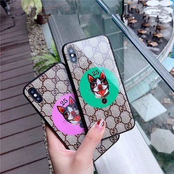 """Gucci"" Fashion Retro GG Letter Dog Head iPhoneX/8/6S Tempered Glass Soft Edge Phone Case iPhone7 Plus Apple Phone Shell"