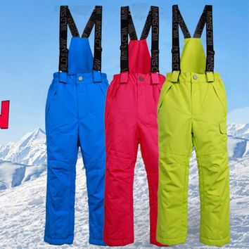 Children Outdoor Ski Climbing Pants Outdoor Waterproof Ski Pants Warm Insulated Windproof Snow Pants