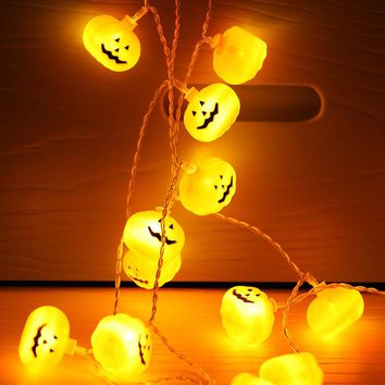 2018 arrival Battery Operated Halloween Pumpkin LED String Lights Halloween holiday Christmas Party Garden Decoration Lights Q3