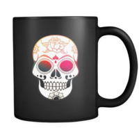 Sugar Skull Black Coffee Mug