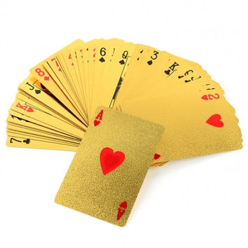New 24K Karat Gold Foil Plated EUR Poker Playing Card With Box