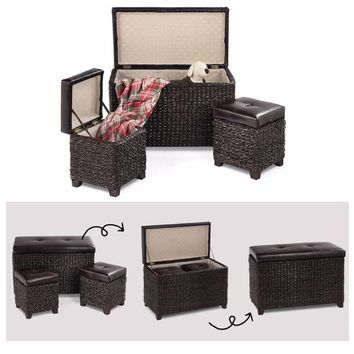 Giantex 3-Piece Bench Foot Rest Hassocks Rattan Stools Leather Ottoman Seating Storage  Living Room Furniture HW57357