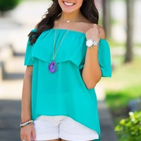 Ruffle May I Top-Jade – Simply Dixie Boutique