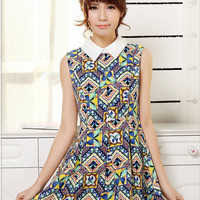 Harajuku Bohemia Flowers Printing Turn-down Collar Tank Dress - S M L from Tobi's Finds
