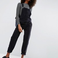 ASOS Cord Patch Pocket Overall in Washed Black at asos.com