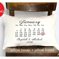 Calendar pillow,Personalized Wedding Pillow, 2nd anniversary pillow, calendar wedding pillow Anniversary gift, two year anniversary (P12)