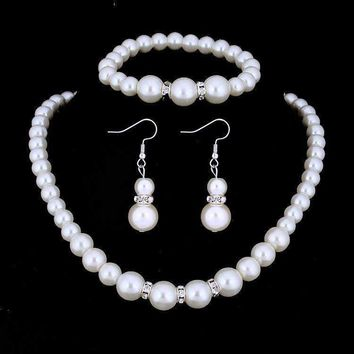 ON SALE - Ivory Pearl and Crystal Bead Necklace Bracelet and Earring Set