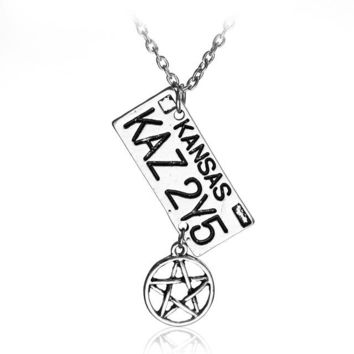 Supernatural Necklace Dean of the License Plate Necklace Long Chain Necklace Collar for men Jewelry
