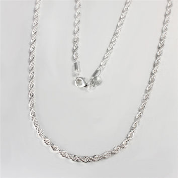 4mm Catena Silver Plated Rope Chain Necklace Statement Swag 16-24inch Twisted Necklace Chain Colar Hip Hop Colares Colar