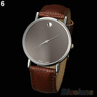 New Fashion Women's Men's Geneva Minimalism Leather band Wrist Watch (Color: Multicolor) = 1956504900