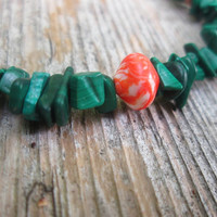 Malachite Bracelet / Green / Orange  / Hexagonal / Ethiopian / Copper Beads / Boho Gemstone / Bright  / Colorful / Beach Jewelry