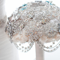 "Great Gatsby Wedding Brooch Bouquet. Deposit ""Glamour Gatsby"" Crystal Wedding Bouquets, Jewelry Bridal Broach Bouquet - Ruby Blooms Weddings"