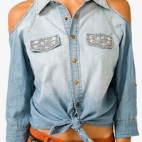 Cutout Bejeweled Denim Off Shoulder Shirt
