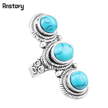 Personality Three Stone Rings For Women Vintage Antique Silver Plated Cocktail Fashion Jewelry