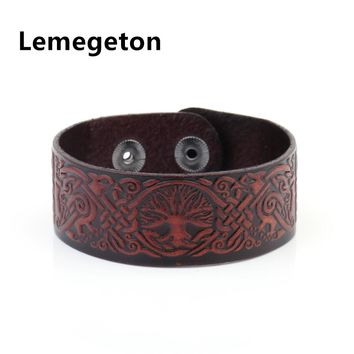 Lemegeton punk Handmade  Vintage  Brown Tree Of Life China Lucky Knot  wide Cuff Wristband Retro Male Viking Jewelry Men leather