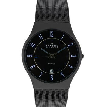 Skagen 233XLTBBN Men's Denmark Black Ion Plated Mesh Bracelet Quartz Watch