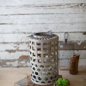 Small Cylinder Shaped Grey Willow Lantern