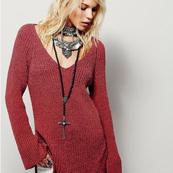 Casual Backless Hollow V-Neck Long Sleeve Top Sweater Knitwear
