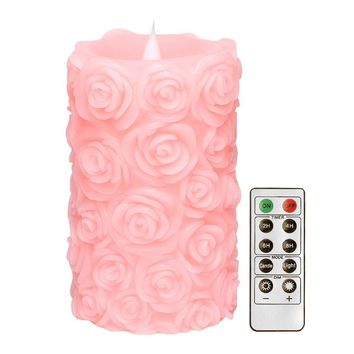 LED Candles with Remote Control,Free-Flowing 3D Fireless Flameless Pillar Light,Dancing Flame,Pink Rose,for Mother's Day Gift