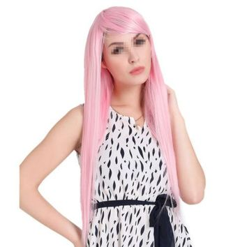 55cm Straight Cosplay Anime Thickness Wig Pink hair cap