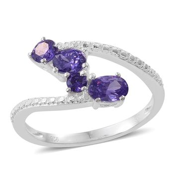 Simulated Tanzanite Sterling Silver Bypass Ring