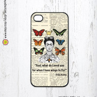 Frida Kahlo What do I need quote on vintage dictionary page for iphone case 4/4S- iphone case 5/5S -Galaxy S4 -Design by Natura Picta-NP037