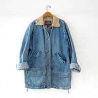 vintage denim barn coat. blue jean jacket. oversized jean coat. Express button front jean jacket. Long denim jacket