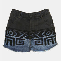 Topshop Moto Embroidered Dip Dye Denim Shorts | Nordstrom