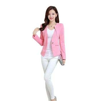 Women Slim Blazer Coat Fashion Casual Jacket Long Sleeve One Button Suit Ladies Blazers Large Size Work Wear 5 Color N2