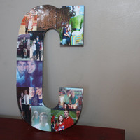 "Christmas Gift, Personalized Collage Wooden Letter, Personalized Gift, Home Decor, Wall Hanging Photo Collage, 13"" Wooden Letter"