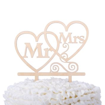 Mr & Mrs Hearts Wooden Wedding Cake Topper