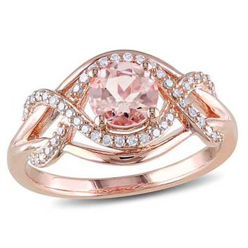 6.0mm Morganite and 1/5 CT. T.W. Diamond Ring in Rose Rhodium Plated Sterling Silver