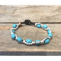 Fair Trade Brass Silver and Turquoise Bracelet