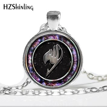 HZ--A436 New Glass Fairy Tail Necklace Fairy Tail Pendant Jewelry Glass Cabochon Necklace Pendant HZ1
