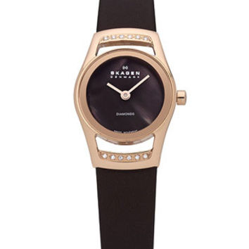 Skagen Ladies Cocktail Black Label - Diamonds - Brown MOP Dial - Leather Strap