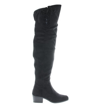 Merry53 Black By Wild Diva, Over Knee OTK Side Lace Slouchy Suede Riding Boots