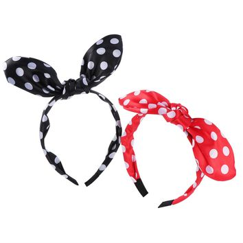FRCOLOR 2 Pcs Bunny Ears Hair Hoop Polka Dot Headband for Women Girls Rabbit Ears Hairband Headwear Hair Accessories (Black And Red)