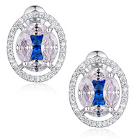 Oval Shape W. Blue and Clear Cubic Zirconia Stud Earrings