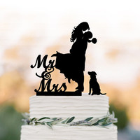 Wedding Cake topper with dog. Cake Topper mr and mrs bride and groom silhouette, funny wedding cake topper, unique wedding cake topper