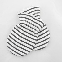 Organic Baby Mittens, Black and White Stripes MT122